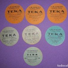 Etiquetas antiguas: 7 ANTIGUAS ETIQUETAS NARANJAS EXPORTACION INTERNACIOAL TEKA VILLAREAL CASTELLON. Lote 193663413