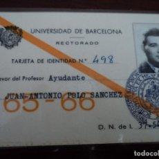 Etiquetas antiguas: UNIVERSIDAD DE BARCELONA RECTORADO CARNET DE PROFESOR AYUDANTE PLASTIF.. Lote 193952560