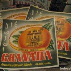 Etiquetas antiguas: 3 ETIQUETAS NARANJAS - MARCA GRANADA - GANDIA (VALENCIA). Lote 193977295
