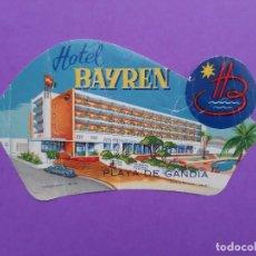 Etichette antiche: ANTIGUA ETIQUETA HOTEL BAYREN GANDIA GRAFICAS GONZALEZ LOGROÑO. Lote 194178918