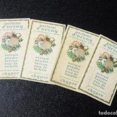 Etiquetas antiguas: 4 ETIQUETAS PUBLICITARIAS PERFUMADAS DE PERFUMES. PARFUMS D'ORSAY. . Lote 194219000
