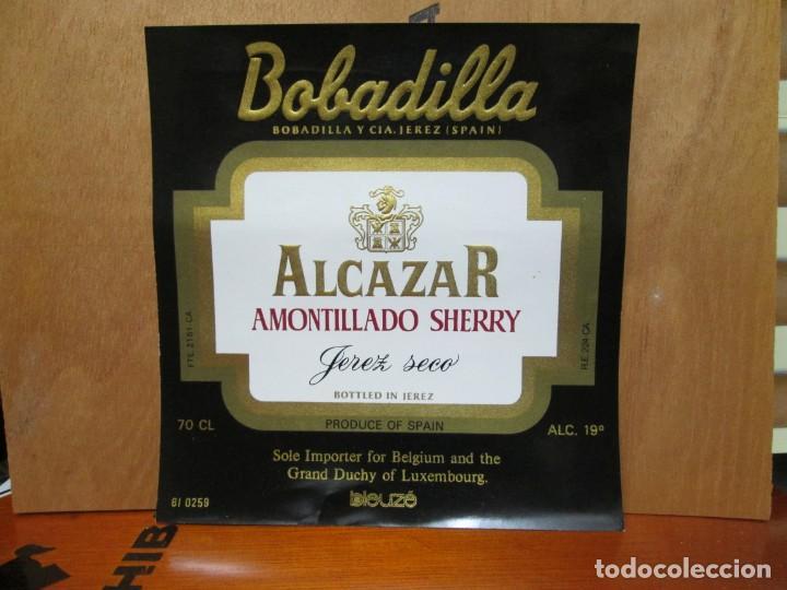 ANTIGUA ETIQUETA, ALCAZAR AMONTILLADO SHERRY JEREZ SECO. (Coleccionismo - Etiquetas)