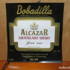 Etiquetas antiguas: ANTIGUA ETIQUETA, ALCAZAR AMONTILLADO SHERRY JEREZ SECO.. Lote 194227237