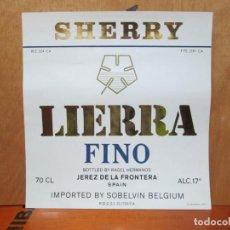 Etiquetas antiguas: ANTIGUA ETIQUETA, SHERRY LIERRA FINO.. Lote 194227901