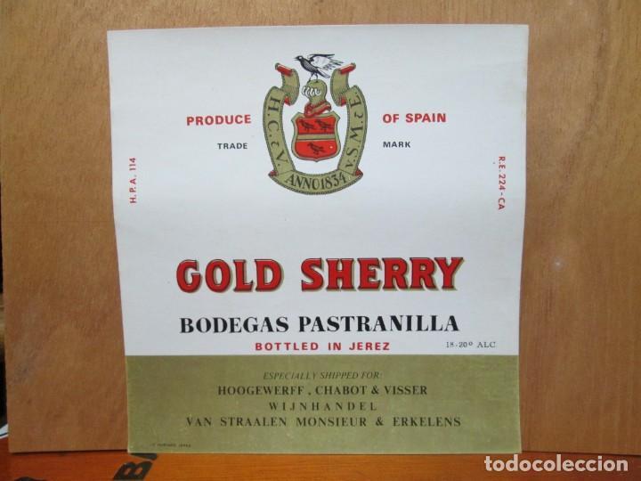 ANTIGUA ETIQUETA, GOLD SHERRY BODEGAS PASTRANILLA. (Coleccionismo - Etiquetas)