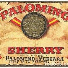 Etiquetas antiguas: ETIQUETA VINO PALOMINO SHERRY. PALOMINO & VERGARA- JEREZ DE LA FRONTERA - ET-321. Lote 194285538