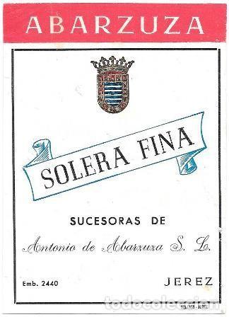 ETIQUETA VINO SOLERA FINA ABARZUZA. SUCESORAS DE ANTONIO DE ABARZUZA S.L.- JEREZ - ET-893 (Coleccionismo - Etiquetas)