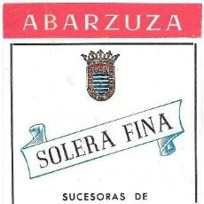 Etiquetas antiguas: ETIQUETA VINO SOLERA FINA ABARZUZA. SUCESORAS DE ANTONIO DE ABARZUZA S.L.- JEREZ - ET-893. Lote 194286361