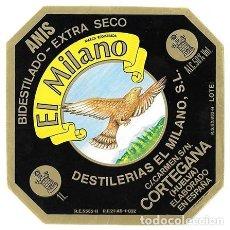 Etiquetas antiguas: ETIQUETA ANIS BIDESTILADO - EXTRA SECO. EL MILANO. CORTEGANA - HUELVA - ET-1116. Lote 194289072