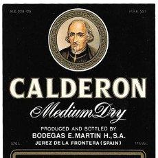 Etiquetas antiguas: ETIQUETA MEDIUM DRY CALDERON. BODEGAS E. MARTIN. SHERRY. JEREZ DE LA FRONTERA - ET-1291. Lote 194290192