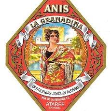 Etiquetas antiguas: ETIQUETA DE VINO ANIS LA LA GRANADINA. DESTILERIAS JOAQUIN ALONSO. ATARFE, GRANADA - ET-1602. Lote 194290618