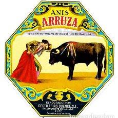 Etiquetas antiguas: ETIQUETA DE VINO ANIS ARRUZA. DESTILERIAS DUENDE, RUTE - ET-1588. Lote 194290961