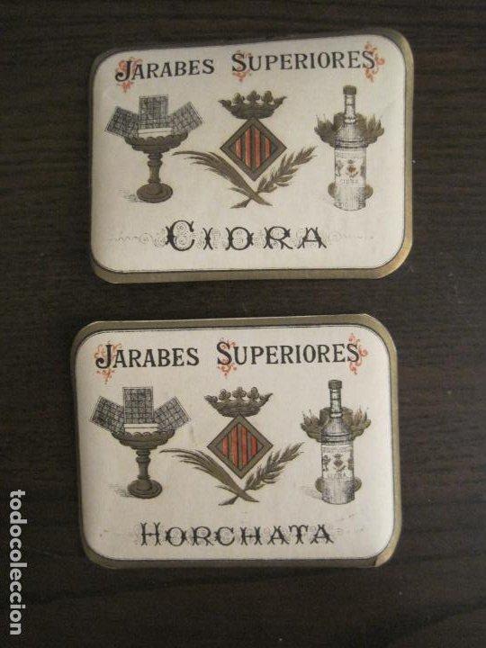 2 ETIQUETAS ANTIGUAS-HORCHATA-CIDRA-JARABES SUPERIORES-VER FOTOS-(V-19.048) (Coleccionismo - Etiquetas)