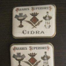 Etiquetas antiguas: 2 ETIQUETAS ANTIGUAS-HORCHATA-CIDRA-JARABES SUPERIORES-VER FOTOS-(V-19.048). Lote 194316138