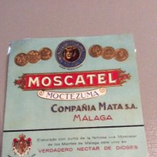 Etiquetas antiguas: MOSCATEL MOCTEZUMA MALAGA. Lote 194400920