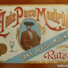 Etiquetas antiguas: ETIQUETA ORIGINAL ANTIGUA ANIS PACO MADRID DANIEL REPULLO MOLINA . Lote 194432305