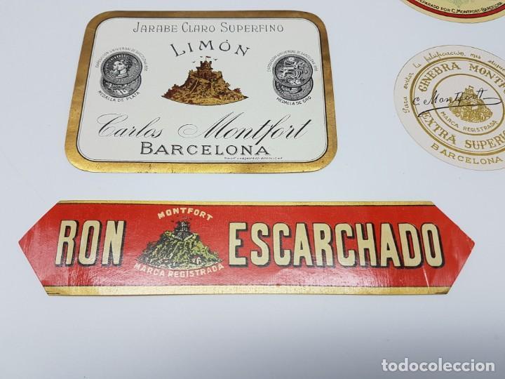 Etiquetas antiguas: LOTE 5 ETIQUETAS, DESTILERIAS MONFORT ( BARCELONA ) SIN USO - Foto 2 - 194502948