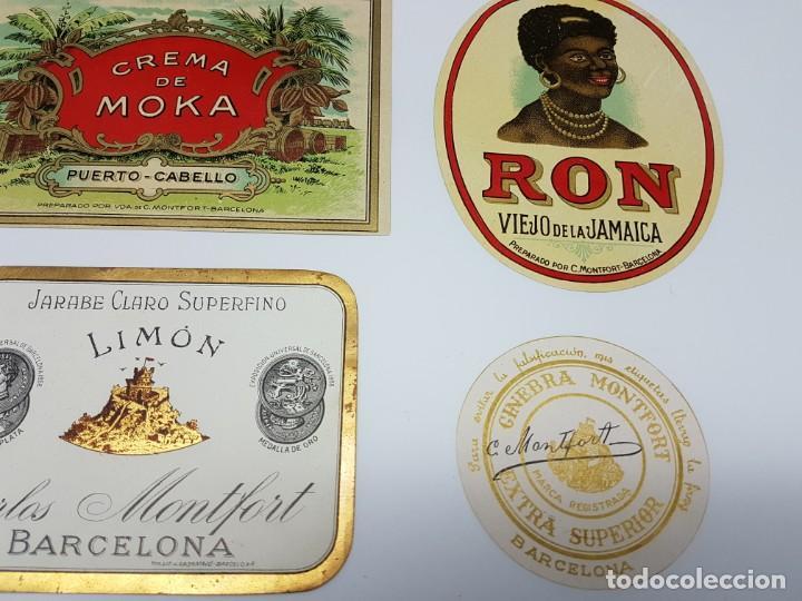 Etiquetas antiguas: LOTE 5 ETIQUETAS, DESTILERIAS MONFORT ( BARCELONA ) SIN USO - Foto 3 - 194502948
