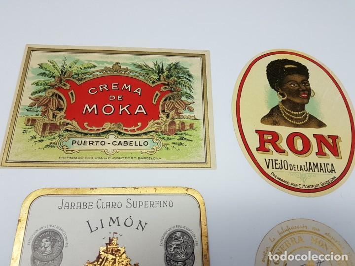 Etiquetas antiguas: LOTE 5 ETIQUETAS, DESTILERIAS MONFORT ( BARCELONA ) SIN USO - Foto 4 - 194502948