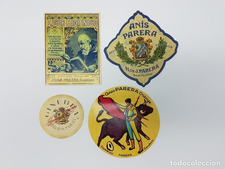 LOTE 4 ETIQUETAS DESTILERIAS PARERA ( BARCELONA ) SIN USO (Coleccionismo - Etiquetas)