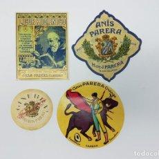 Etiquetas antiguas: LOTE 4 ETIQUETAS DESTILERIAS PARERA ( BARCELONA ) SIN USO. Lote 194503845