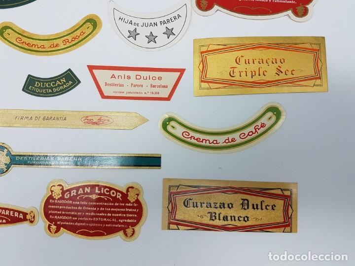 Etiquetas antiguas: LOTE 20 ETIQUETAS DESTILERIAS PARERA ( BARCELONA ) SIN USO - Foto 2 - 194504945