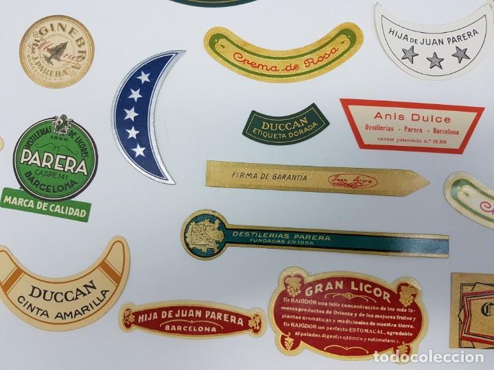 Etiquetas antiguas: LOTE 20 ETIQUETAS DESTILERIAS PARERA ( BARCELONA ) SIN USO - Foto 3 - 194504945