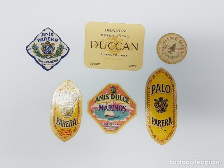 LOTE 6 ETIQUETAS DESTILERIAS PARERA ( BARCELONA ) SIN USO (Coleccionismo - Etiquetas)
