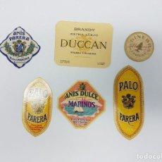 Etiquetas antiguas: LOTE 6 ETIQUETAS DESTILERIAS PARERA ( BARCELONA ) SIN USO. Lote 194505387