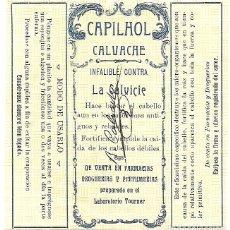 Etiquetas antiguas: CAPILHOL CALVACHE - ANTIGUA ETIQUETA. Lote 194512760