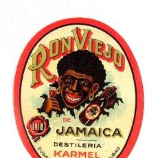 Etiquetas antiguas: ANTIGUA ETIQUETA RON VIEJO DE JAMAICA. DESTILERIA KARMEL. ZUGAZABEITIA Y LEGARRA – BILBAO. Lote 194524660