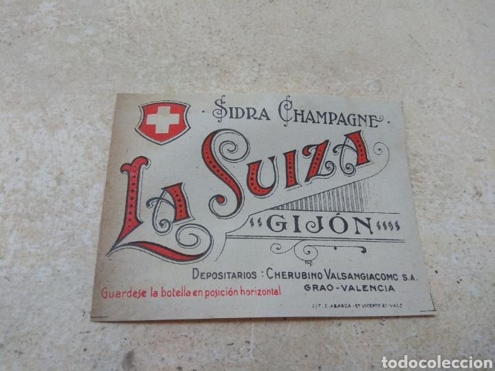 ANTIGUA ETIQUETA SIDRA CHAMPAGNE LA SUIZA - GIJÓN - (Coleccionismo - Etiquetas)