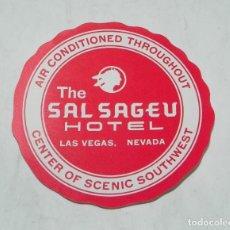Etiquetas antiguas: ETIQUETA PARA MALETA DEL HOTEL THE SAL SAGEU, LAS VEGAS, NEVADA, LUGGAGE LABEL, MIDE 8 CMS.. Lote 194548853