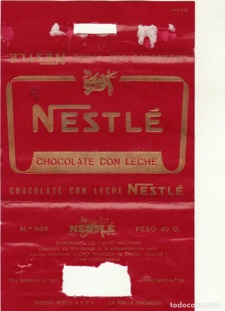 ANTIGUA ETIQUETA CHOCOLATE CON LECHE NESTLE.AÑOS 60. (Coleccionismo - Etiquetas)