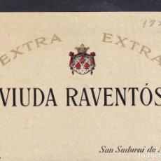 Etiquetas antiguas: 2 ET. VIUDA RAVENTÓS SAN SADURNI DE NOYA BARCELONA PEGADAS A UNA CARTULINA. Lote 194915417