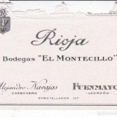 Etiquetas antiguas: RIOJA BODEGAS EL MONTECILLO FUENMAYOR LOGROÑO ALEJANDRO NAVAJAS (ETIQUETA ROTA ZONA SUPERIOR). Lote 194916088