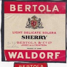 Etiquetas antiguas: BERTOLA SHERRY JEREZ DE LA FRONTERA CÁDIZ (PEGADAS A UNA CARTULINA). Lote 194917646