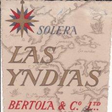 Etiquetas antiguas: BERTOLA LAS INDIAS JEREZ DE LA FRONTERA CÁDIZ (CON RESTOS DE HABER ESTADO PEGADA). Lote 194920215