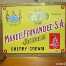 Etiquetas antiguas: ANTIGUA ETIQUETA, MANUEL FERNANDEZ S.A JEREZ SHERRY CREAM. Lote 194946165