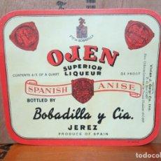 Etiquetas antiguas: ANTIGUA ETIQUETA,OJEN SUPERIOR LIQUEUR SPANISH ANISE, BOBADILLA Y CIA. Lote 194946333