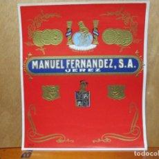 Etiquetas antiguas: ANTIGUA ETIQUETA, MANUEL FERNANDEZ JEREZ PLUS ULTRA.. Lote 194946663