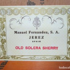 Etiquetas antiguas: ANTIGUA ETIQUETA, MANUEL FERNANDEZ, S.A. OLD SOLERA SHERRY. Lote 194947833