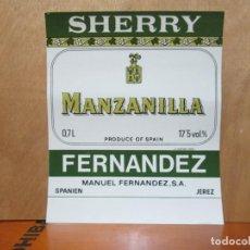 Etiquetas antiguas: ANTIGUA ETIQUETA, SHERRY MANZANILLA FERNANDEZ. Lote 194948860