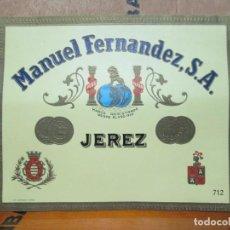 Etiquetas antiguas: ANTIGUA ETIQUETA, MANUEL FERNANDEZ S.A. JEREZ.. Lote 194949123