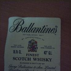 Etiquetas antiguas: ETIQUETA DE WHISKY BALLANTINES AÑO 1974. Lote 194975141