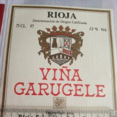 Etiquetas antiguas: ETIQUETA DE VINO - VIÑA GARUGELE - RIOJA - EMBOTELLADO PARA RIOJA SELECCION S.A. LOGROÑO. Lote 194992183