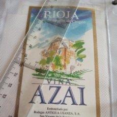 Etiquetas antiguas: ETIQUETA DE VINO - VIÑA ALZAI - RIOJA - TINTO JOVEN - EMBOTELLADO POR BODEGAS ANTIGUA USANZA S.A.. Lote 194995207