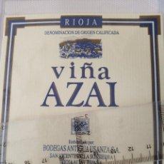 Etiquetas antiguas: ETIQUETA DE VINO - VIÑA AZALAI - RIOJA - CRIANZA - EMBOTELLADO POR BODEGAS ANTIGUA USANZA S.A.. Lote 195000685