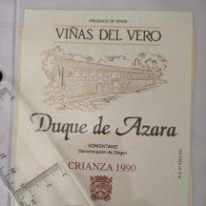 Etiquetas antiguas: ETIQUETA DE VINO - VIÑAS DE VERO - DUQUE DE AZARA - CRIANZA 1990 - . Lote 195001932