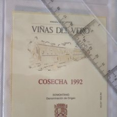Etiquetas antiguas: ETIQUETA DE VINO - VIÑAS DE VERO - COSECHA 1992 -. Lote 195002186